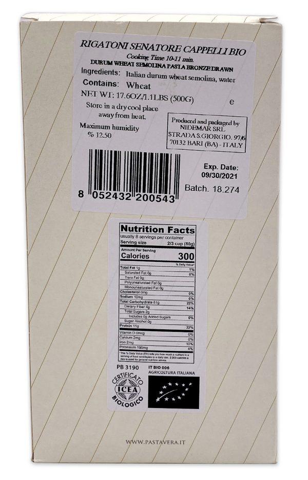 Pasta Vera Ancient Grain Organic Rigatoni Nutrition