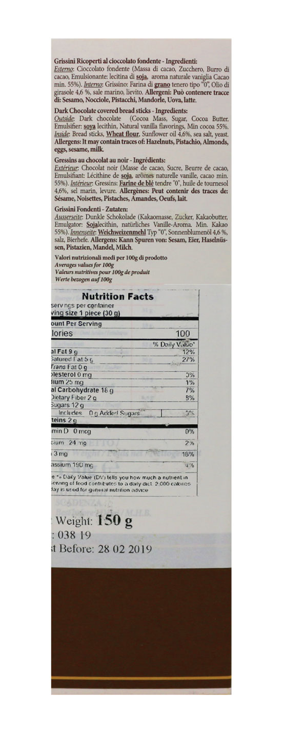 Mandrile Melis Cioccogrissino Breadsticks Nutrition Facts