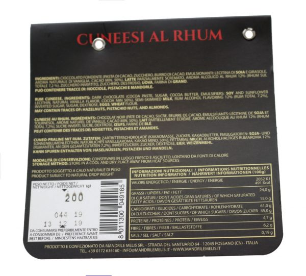 Mandrile Melis Italian Dark Chocolate Praline Rum Cuneese back