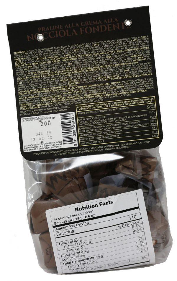 Mandrile Melis Nocciola Fondente Italian Dark Chocolate Praline Nutrition Facts