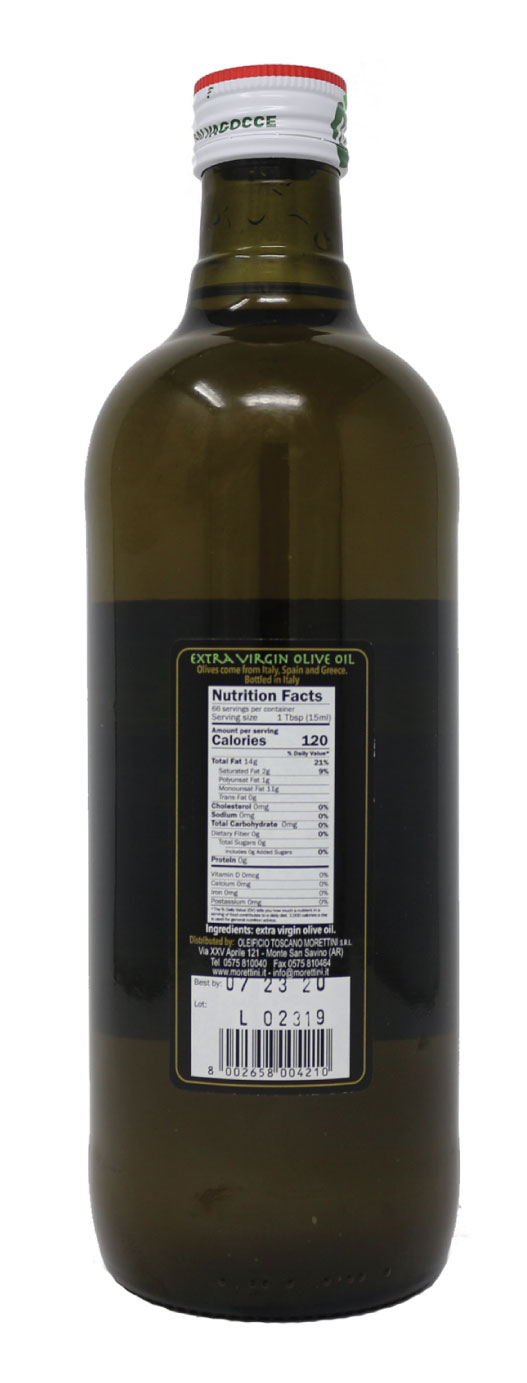 Morettini Etrusco Extra Virgin Olive Oil Nutrition Facts