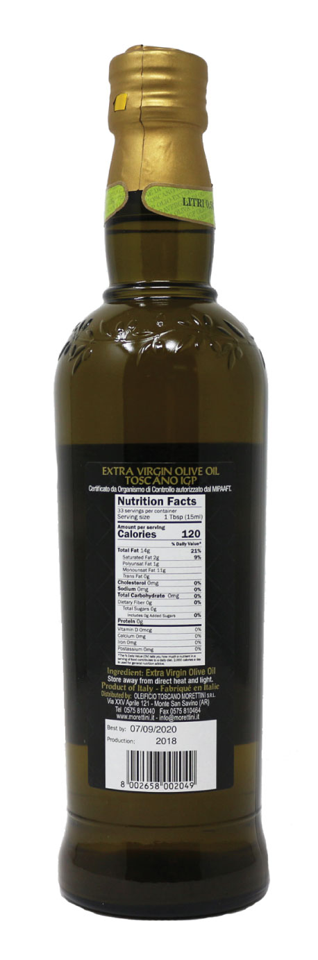 Morettini IGP Toscano Extra Virgin Olive Oil Nutrition Facts