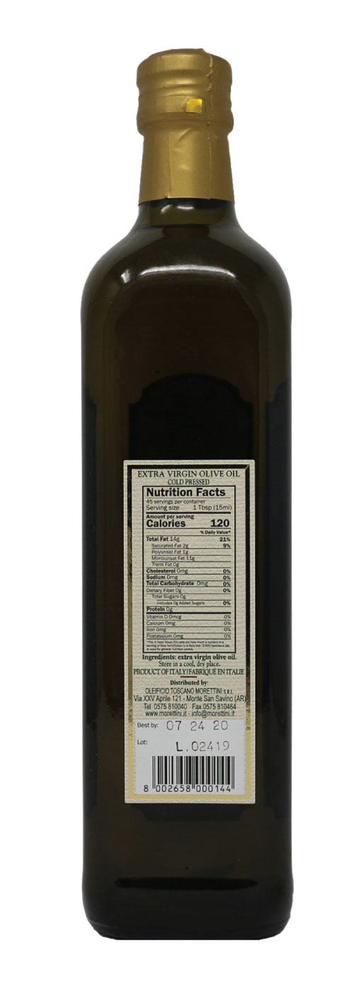 Morettini San Savino Extra Virgin Olive Oil Nutrition Facts