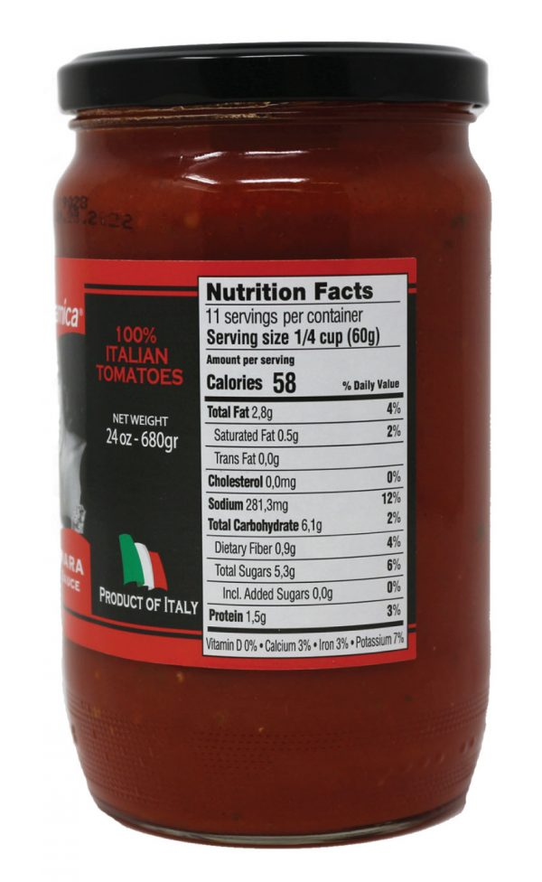 Naturamica Italian Marinara Sauce Nutrition Facts