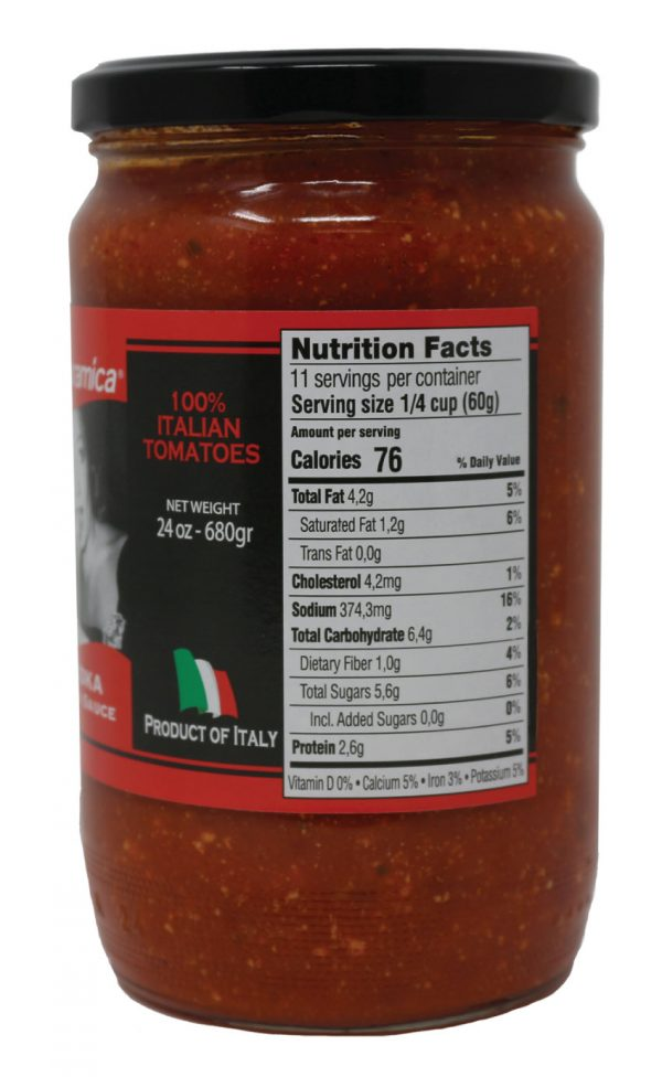 Naturamica Italian Vodka Sauce Nutrition Facts