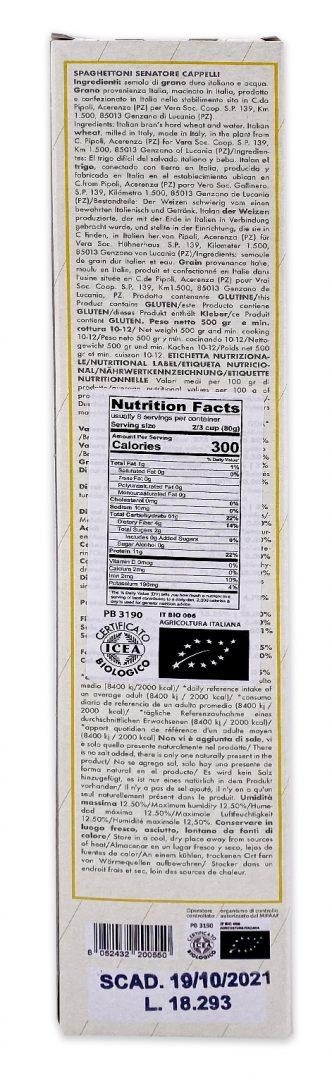 Pasta Vera Ancient Grain Organic Spaghettoni Nutrition