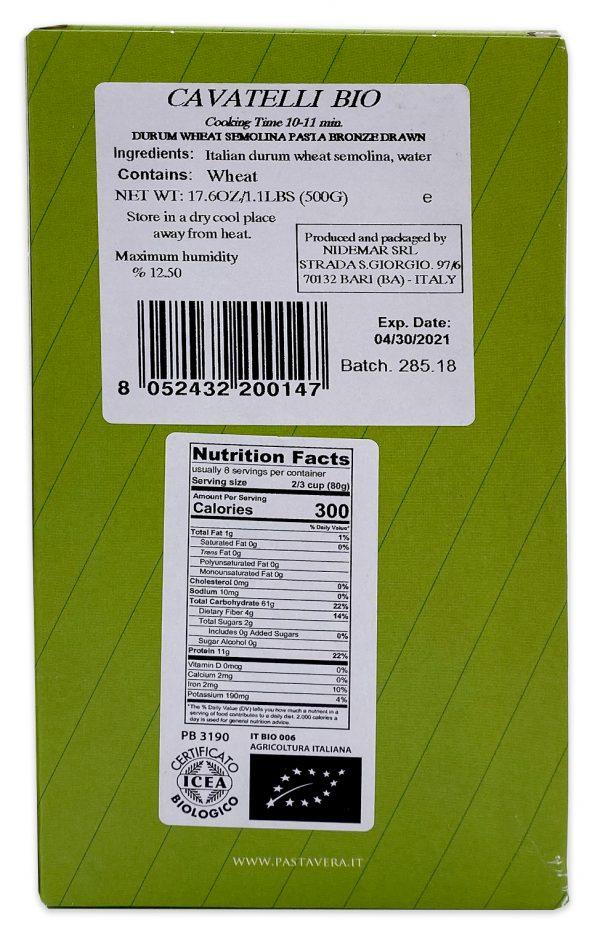 Pasta Vera Organic Cavatelli Nutrition