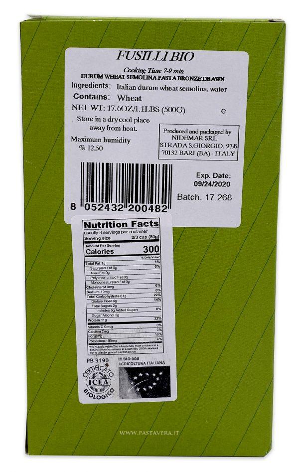 Pasta Vera Organic Fusilli Nutrition