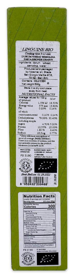 Pasta Vera Organic Linguine Nutrition