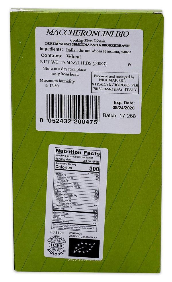 Pasta Vera Organic Maccheroncini Rigati Nutrition