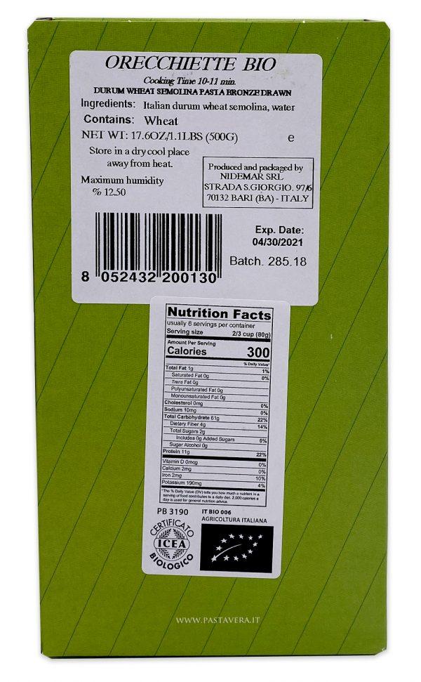 Pasta Vera Organic Orecchiette Nutrition