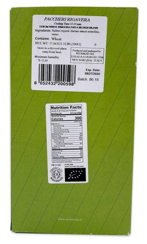 Pasta Vera Organic Paccheri Rigavera Nutrition