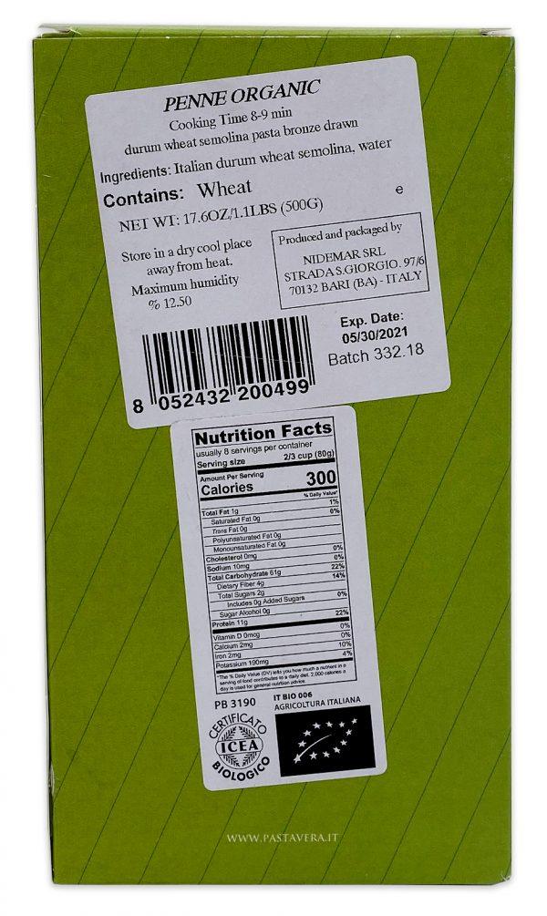 Pasta Vera Organic Penne Rigate Nutrition