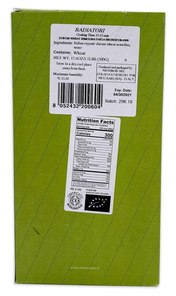 Pasta Vera Organic Radiatori Nutrition