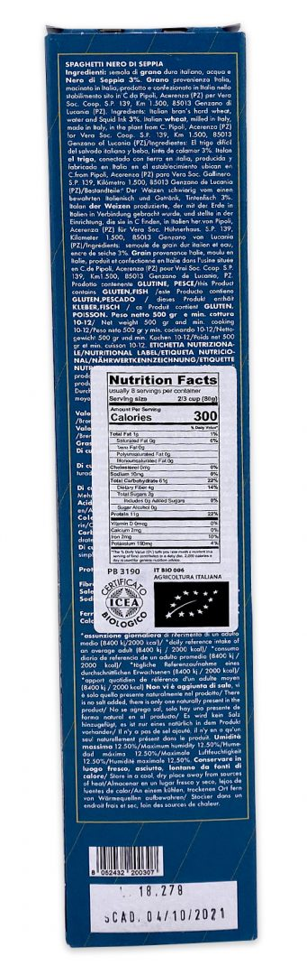 Pasta Vera Organic Squid Ink Spaghetti Nutrition