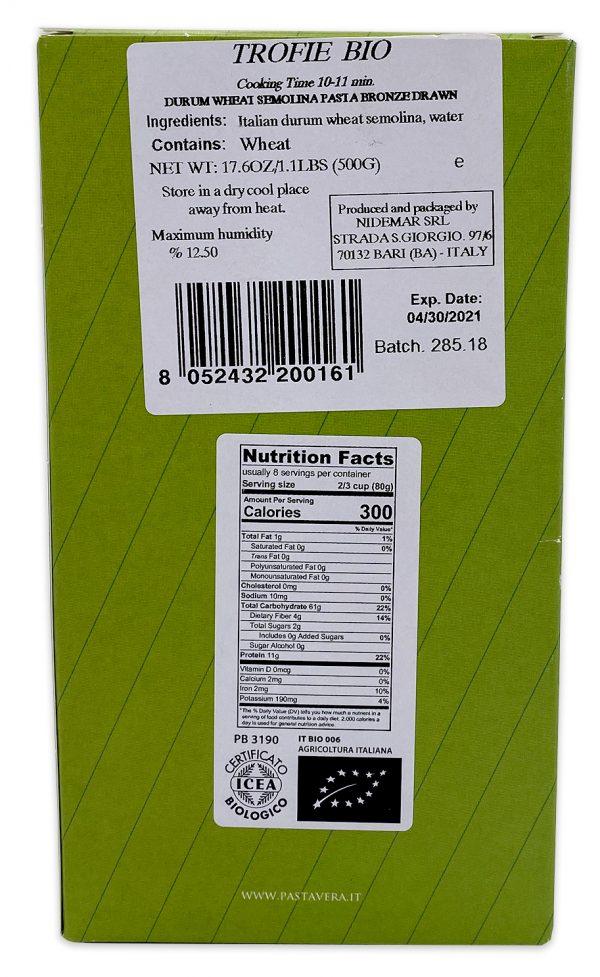 Pasta Vera Organic Trofie Nutrition