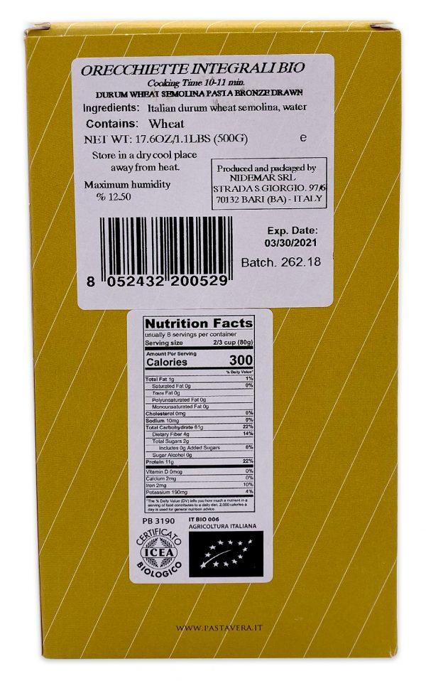 Pasta Vera Whole Wheat Organic Orecchiette Nutrition