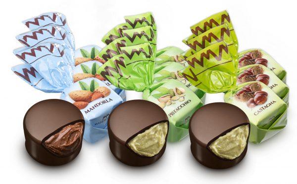 Mandrile Melis Italian Praline Chocolates nut mandorle almond pistachio chestnut castagna