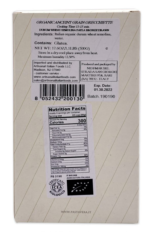 Pasta Vera Italian Organic Ancient Grain Orecchiette 01