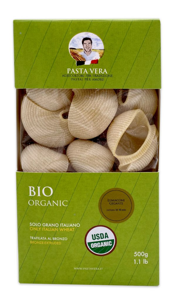 Pasta Vera Italian Organic Lumaconi Giganti Conchiglioni 01