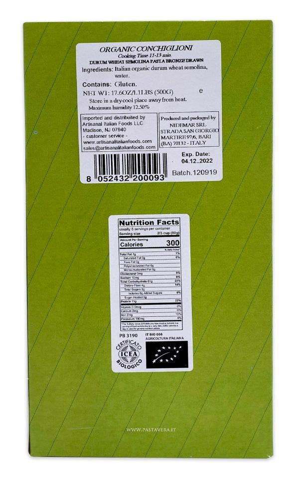 Pasta Vera Italian Organic Lumaconi Giganti Conchiglioni 04