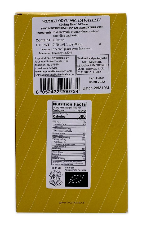Pasta Vera Italian Organic Whole Wheat Cavatelli 05
