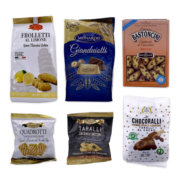 italian dessert and cookies Biscotti Gianduiotti Chocolate Taralli Frolletti Cookies